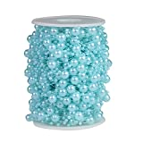 Bingcute 100 Feet Fishing Line Artificial Pearls String Beads Chain Garland Flowers Wedding Party Decoration,Party Supplies (Color: Blue)