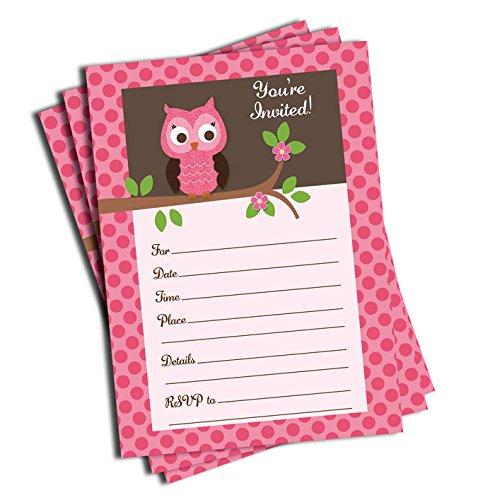 Blank Owl Baby Shower Invitations: 50 Pink Owl Invitations (5x7)