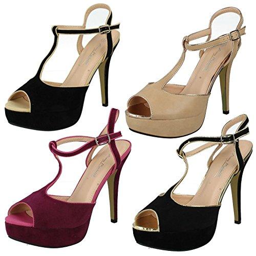 Donna tacco alto peep toe sandali con piattaforma, multicolore (Black/Gold), 38 EU