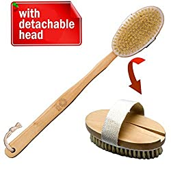 Bath Blossom Shower Brush Long Handled for Shower with Detachable Head - Best Natural Bristles Back Brush - Exfoliating Body and Cellulite Brush Massager Suitable for Men and Women