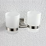 Wall-mounted Toothbrush Holder Double Holder, Brushed Nickel G1001