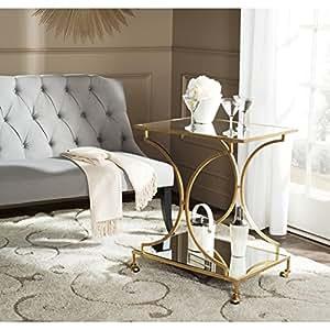 Safavieh Home Collection Ignatius Gold Bar Cart: home bar furniture amazon