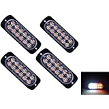 4pcs Universal Super Bright Car Truck Warning Caution Emergency Construction Waterproof Surface Mount Beacon Flash Caution Strobe Light Bar (12-LED, Amber & White) (Color: Amber&White)