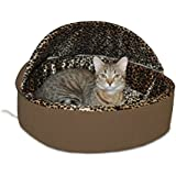 K&H Manufacturing Thermo-Kitty Bed Dlx Hooded Small Mocha Leopard 16-Inch 4 Watts