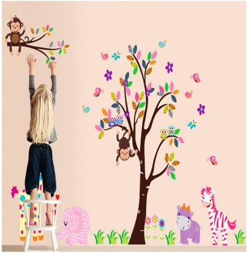 """Xxx Large Jungle Animals Decal For Kid'S Bedroom Wall Decor Baby Girls Nursery Jungle Tree Wall Decor Sticker 110"""" Removable Monkeys Owls Zebra Lion Tiger front-896469"""