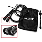 terriFIT Ultra Speed Cable Jump Rope || Used in Crossfit, Advanced Cardio, Double Unders || 120-Day Hassle-Free Replacement Guarantee || Carrying Case | 10 Ft. Adjustable Length | FREE Rapid Results Manual