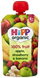 HiPP Organic From 4 Months Apple Strawberry and Banana Fruit Pouch 100 g (Pack of 2, Total 10 Pouches)