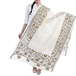 Kiara Crafts Women's Dupatta (kc-020_Cream_Freesize)