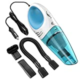 Car Vacuum Cleaner , Reteck DC 12v Portable Handheld Car Vacuum Wet Dry Lightweight Auto Vacuum Cleaner Tools with Cigarette Lightener Plug, 14FT(4M) Power Cord - 105 Blue