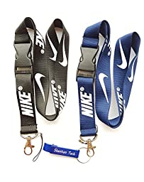 2PCS Nike Key Chain Mobile Phone MP3 Holder Neck Straps Lanyard (2Pcs(Black&Dark Blue))