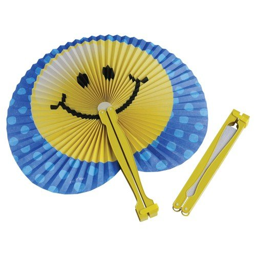 Smiley Face Folding Fans 12/pk