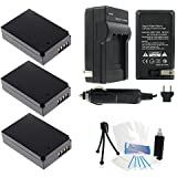 3-Pack LP-E12 High-Capacity Replacement Batteries With Rapid Travel Charger For Select Canon Digital Cameras. UltraPro Bundle Includes: Deluxe Cleaning Kit LCD Screen Protector Mini Travel Tripod