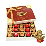 Chocholik Luxury Chocolates - 20pc Unique Combination Of Wrapped Chocolate Box With Ganesha Idol - Diwali Gifts