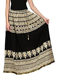 Saadgi Rajasthani Hand Block Printed Handcrafted Pure Rayon Lehnga Skirt For Women/Girls - B06XGJFJXX