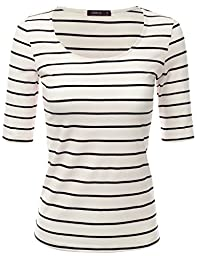 Doublju Womens Basic 3/4 Sleeve Solid / Striped Round Neck T-Shirt WHITEBLACK SMALL