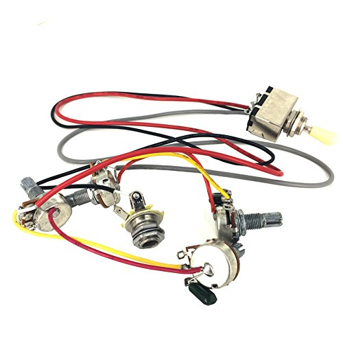 Greenten Wiring Harness Prewired 2V2T 3-Way Toggle Switch 500k Pots Jack for Gibson LP Guitar Replacement (Pot Switch compare prices)