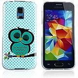tinxi� Schutzh�lle f�r Samsung Galaxy S5 mini H�lle Skin Silikon Cover Etui Schale hellgr�ne Eule