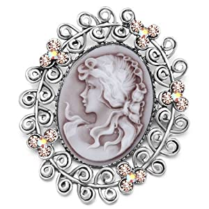 Pugster Classic Antique Lady Maiden Profile Oval Brown Beauty&border Light Colorado Topaz Flower Floral Swarovski Crystal Diamond Accent Brooches Pins