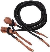 Tough-1 Cord Split Reins with Slobber Straps Size8ft ColorBlack by Tough 1