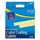 Avery Permanent Color Coding Labels, 0.25-Inch Round, Yellow, Pack of 450 (5792)