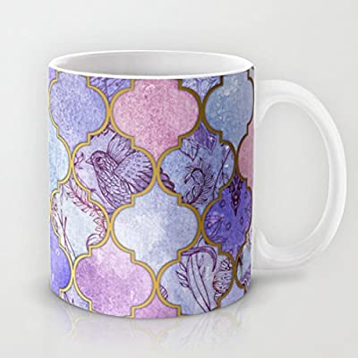 "luRouse Royal Purple Mauve Indigo Decorative Moroccan Tile Pattern Coffee/Tea Mug 3.7"" x 3.1"" ,11oz"