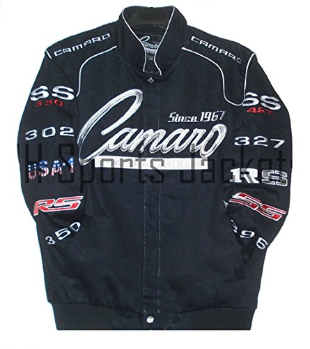Chevrolet Camaro Embroidered Racing Cotton Black Collage Jacket JH Design LARGE (Chevy Camaro Womens Apparel compare prices)
