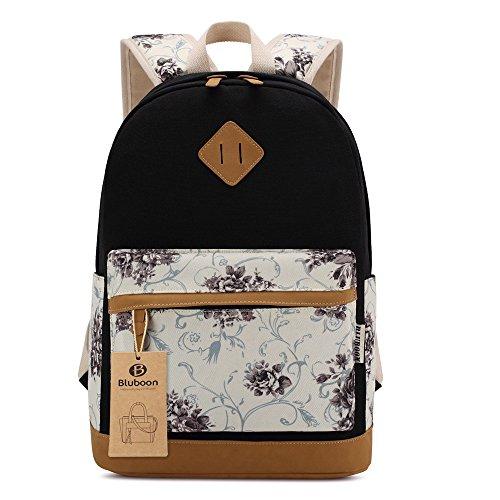 bluboon sac d cole femme cartable college fille sac dos avec motif de fleurs de style cor en. Black Bedroom Furniture Sets. Home Design Ideas