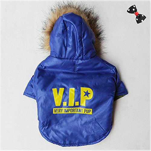 P&Q Estore Pet Dog Puppy Winter Warm Hooded Coat Jacket Snowsuit Clothes Apparel for Dog + 1XBowknot (VIP(Blue), X-Small)