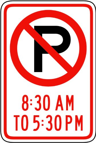 Street & Traffic Sign Wall Decals - No Parking 8:30 Am-5:30 Pm Symbol Sign - 48 Inch Removable Graphic front-925997