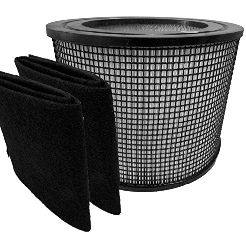 Premium Hepa Plus Filter + 2 Carbon Prefilter Wraps for Filter Queen Defender Air Purifier 4000 360 by Saras Vac Shack (Air Vac Filter compare prices)