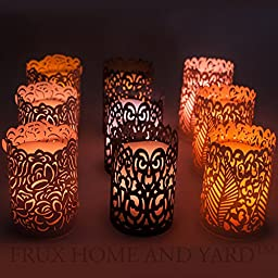 Frux Home and Yard 9 Piece Flameless Wax Votive Candles with Color Changing Remote Control and Our Exclusive Bonus Laser Cut Decorative Wraps, 9Piece Set