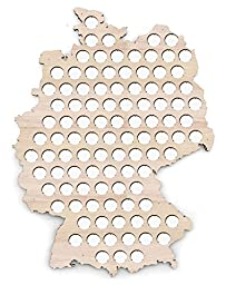 Germany Beer Cap Map - 17x23 inches - 100 caps - Beer Cap Holder Germany - Birch Plywood