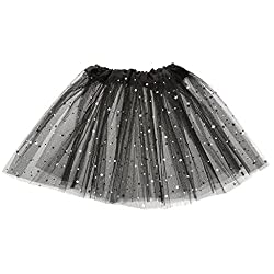 Imported Girls Kids Glitter Star Tutu Skirt Ballet Dress Pettiskirt Black