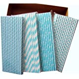 Secret Life(TM) 100 Pcs Biodegradable Paper Straws Kit with Same Color 4 Patterns, Bachelorette, Baby Shower, Wedding, Birthday, Anniversary Party Supply (Sweet Blue)