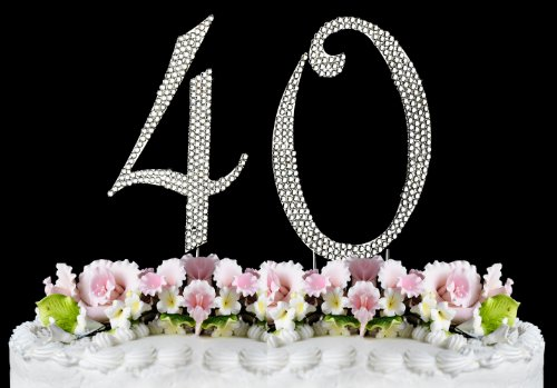 Rhinestone Cake Topper Number 40 front-996582