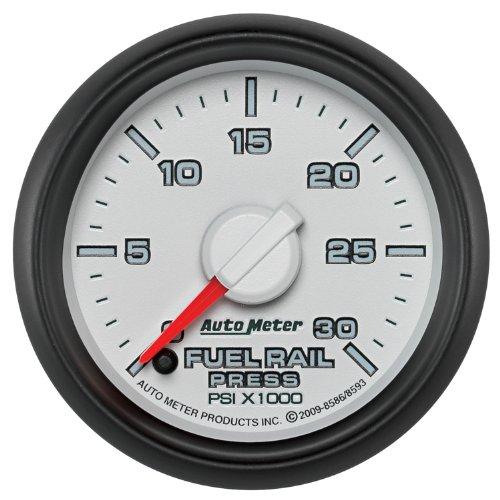 "Auto Meter 8593 2-1/16"" 0-30000 Psi Fuel Rail Pressure Gauge 2007.5 And Newer Dodge Cummins 6.7L Gm Duramax Lbezel And Lmm"