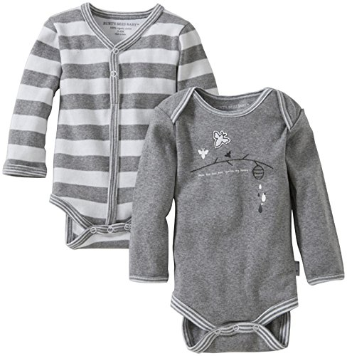 Burt'S Bees Baby Unisex Baby 2 Pack Applique Bodysuits (Baby) - Gray - 0-3 Months front-917724