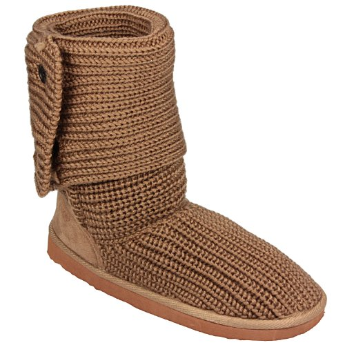 Spot On - Childrens Girls Knitted Button Boot in tan Boots Girlswear -