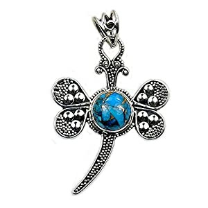 Exotic Sterling Silver Blue Copper Turquoise Dragonfly Pendant