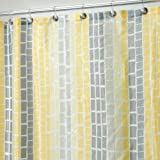 InterDesign Moxi Fabric Shower Curtain, Yellow and Gray, 72-Inch by 72-Inch