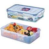 Lock&Lock 27-Fluid Ounce Rectangular Food Container with Divider - Short - 3.3-Cup