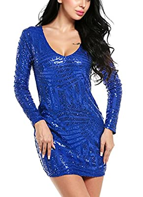 ACEVOG Women's V Neck Long Sleeve Sequined Cocktail Party Club Evening Mini Dress