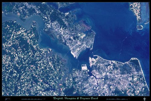 Norfolk, Hampton & Virginia Beach, Virginia satellite map