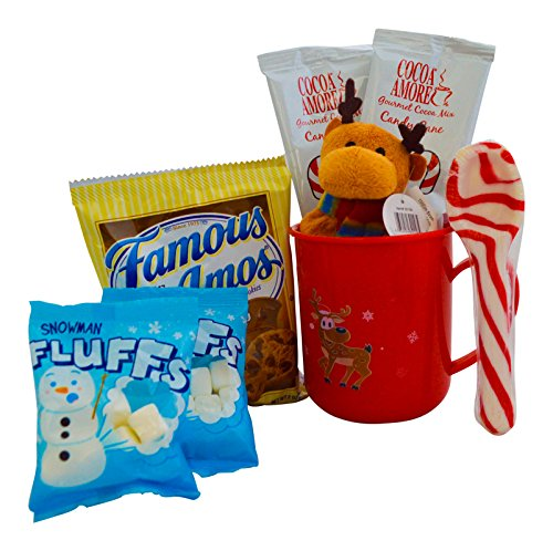 Christmas Hot Cocoa Gift For Kids - Candy Cane Hot Chocolate, Marshmallows,Cookies, Plush , and a Candy Cane Spoon in a Plastic Mug -Great Gift For Children or Grandchildren (Red Mug, Reindeer Plush)