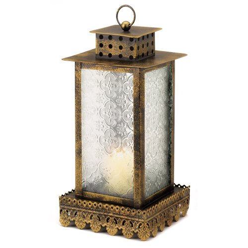Gifts & Decor Ornate Glass Panel Kyoto Candle Lantern