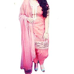 Reet Glamour Women 's Cotton Unstitched Baby Pink Machine Embroidered Punjabi Suit