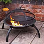 Steel Portable Fire Bowl BBQ Firepit...