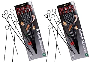 Charcoal Companion 13-Inch Nonstick Grilling Kabob Skewers, Set of 12 by Charcoal Companion