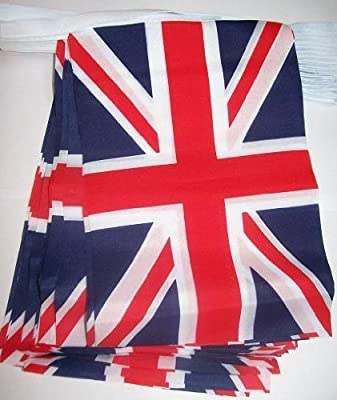 UK Fabric Union Jack Bunting Flag 10metres/33ft Long with 30 Flags (16cmX23cm). Ideal for weddings, parties, sporting events, car sales, showrooms, Pubs, Office & buildings.
