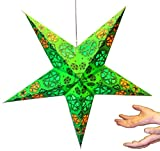 Hanging star lantern without lights - 5 point paper star High Lime Green
